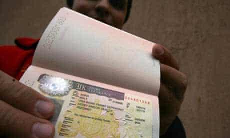 Man holding passport, immigration
