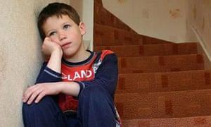 Children's services, boy on stairs