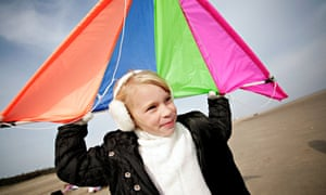 Young girl with kite on Skegness beach