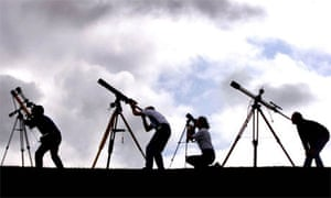 Astronomers near Truro train their telescopes at the sun ahead of the 1999 eclipse
