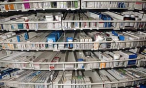 Packets of medicinal drugs, tablets at the Pharmacy, Corbett Hospital, Stourbridge