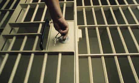 Key in prison cell door