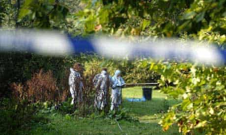 Police forensic teams search Clapham Common following the fatal homophobic attack on Jody Dobrowski in 2005