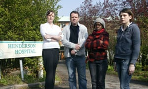 Sadie Oguste, Mark Sommerville, Cathy Boyd and Caroline Thompson outside the Henderson hospital in Sutton