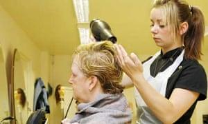 Tasha West learns about hairdressing at A4e Education & Enterprise, a private vocational education centre for 14-16 year-olds in Grimsby, Lincolnshire