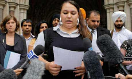 Sarika Watkins-Singh outside the high court in London yesterday with her family, legal team and supporters. Photograph: Anthony Upton/PA Wire