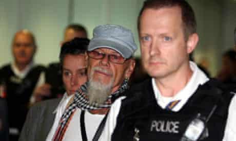 Gary Glitter arrives at Heathrow last month
