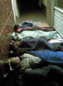 Camera phone pictures show rough sleepers bedding down for the night