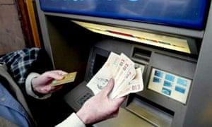 Cash machine. Photograph: James Fraser/Rex Features