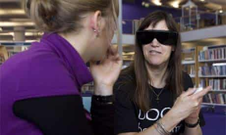 Julie Duffy, the 'visually impaired book', shares her experiences as part of the living library project at Bournemouth's central library. Photograph: Neil Turner