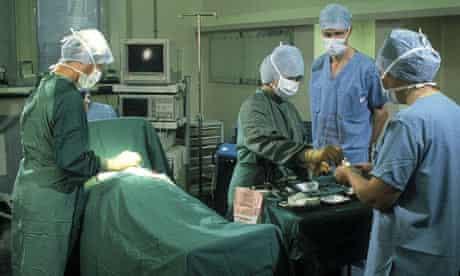 Nurses in theatre in a hospital