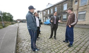 Jamil and locals in Barkerend, Bradford