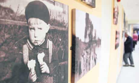 Photographs in a corridor atPeppermill Court in North Yorkshire