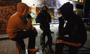 Young people in hoods
