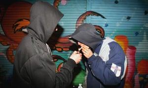 Young people smoking