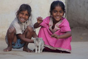 The Young Lives project: Girls in India with a kitten