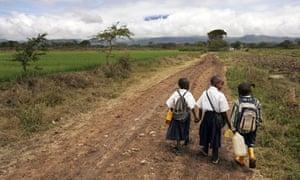 Delvin, Novesa and Dixon take the long road to school near Arusha, Tanzania