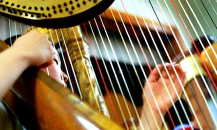 Harp playing with orchestra