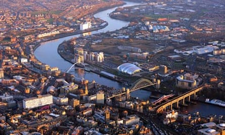 Aerial view of Newcastle city centre