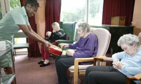 Staff and residents in an older people's care home in east Twickenham.