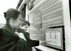 Citizens Advice at 70: Potential clients check a bureau's opening times in the 1980s