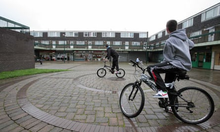 Youngsters in hoodies and on bikes