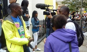 Hip-hop/grime artist Bashy being interviewed for a youth-led documentary