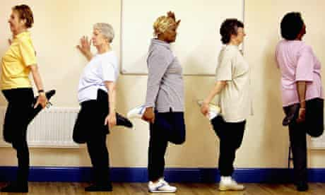 Pensioners participate in an exercise class