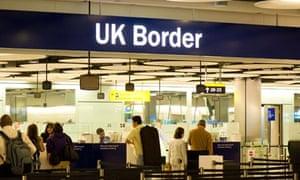 UK Border control at Terminal 5 Heathrow Airport