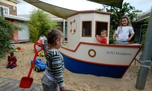 Children playing on 'the beach' at Pen Green Children's Centre