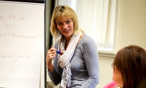Linda Webster teaching a leadership and management course