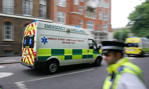 Ambulances rush to the scene of a bombin
