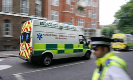 Ambulances rush to the scene of a bombin