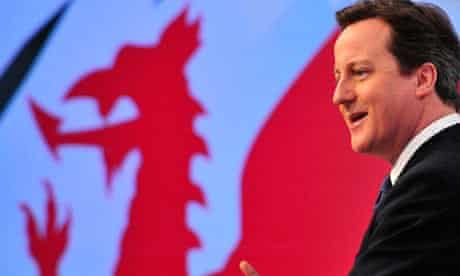 Britain's Prime Minister Cameron addresses the Conservative spring forum in Cardiff