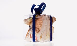 banknotes in box