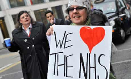 Supporters demonstrate as the British Medical Association holds a meeting about the health bill