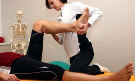 Man having physiotherapy