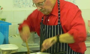A cookery class for older men at Backwell school