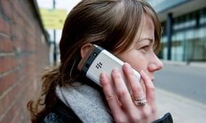 Woman on Blackberry smart phone