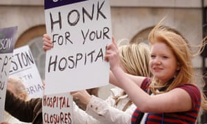 Hospital workers and patients protest against hospital closures