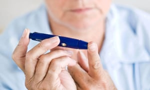Diabetic woman checking her blood sugar level
