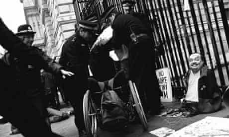 Disability activists protest against proposed changes to disability welfare, Downing St, London 1998