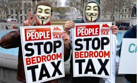 Bedroom tax protesters in Trafalgar Square. The Dept of Work and Pensions will close the loophole