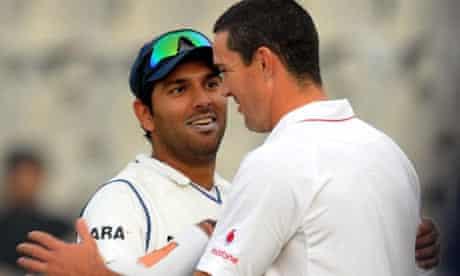 Yuvraj Singh speaks with Kevin Pietersen