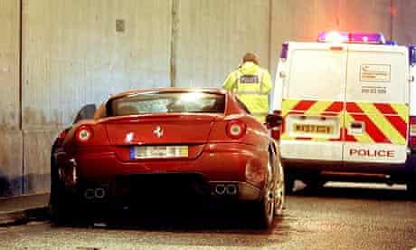 Ronaldo Crashes Ferrari On Way To Training Carling Cup 2008 09 The Guardian