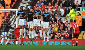 Liverpool gallery: The Manchester United wall jumps to try and block Fabio Aurelio's free kick