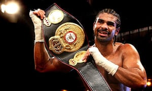 David Haye holds up his WBA heavyweight title belt
