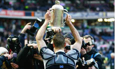 Chris Paterson of Scotland holds the Calcutta Cup on March 8, 2008