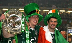 Ireland's Tommy Bowe and Rob Kearney celebrate.