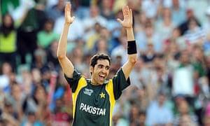 Umar Gul celebrates taking five wickets during Pakistan's Twenty20 win over New Zealand